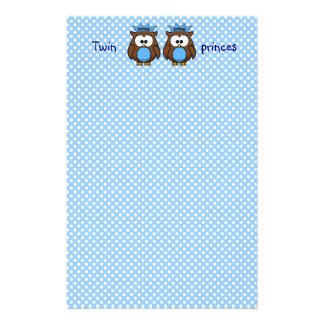 twin owl princes stationery design