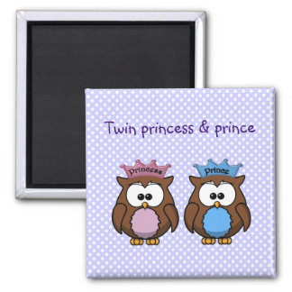 twin owl princess & prince 2 inch square magnet