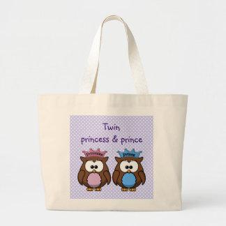 twin owl princess & prince tote bag