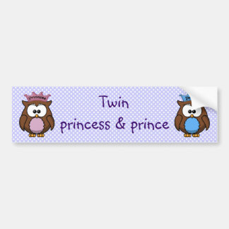 twin owl princess & prince bumper sticker