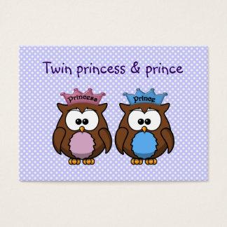 twin owl princess & prince business card