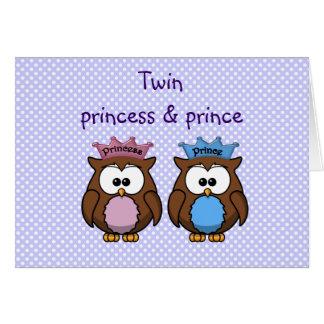 twin owl princess & prince card