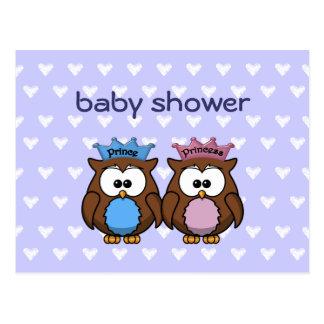twin owl princess & prince post card