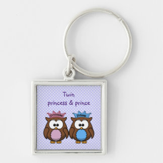 twin owl princess & prince Silver-Colored square keychain