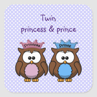 twin owl princess & prince square sticker