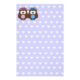 twin owl princess & prince stationery