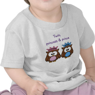 twin owl princess & prince t-shirts