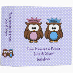 twin owl princess & prince vinyl binders