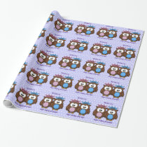 twin owl princess & prince wrapping paper