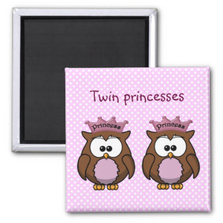 twin owl princesses 2 inch square magnet