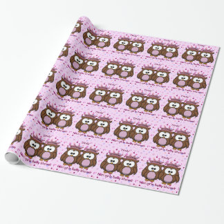 twin owl princesses gift wrap paper