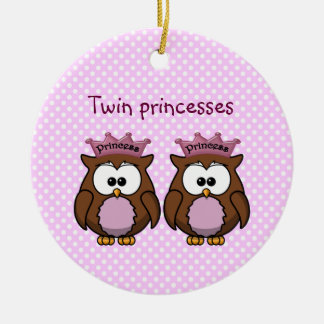 twin owl princesses Double-Sided ceramic round christmas ornament