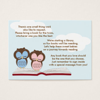 Twin Owls Baby Shower Book Insert Request Card