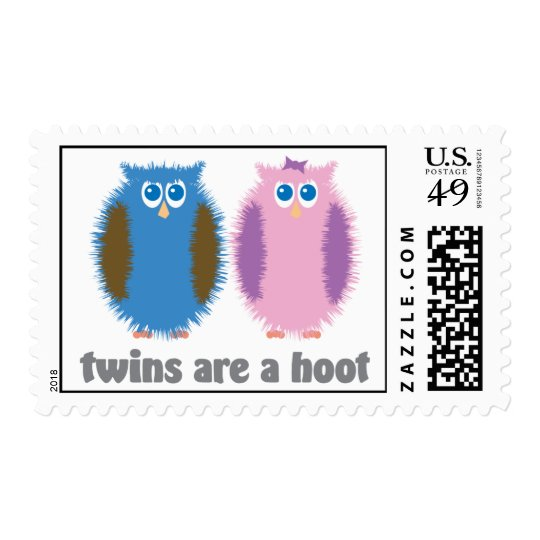 Twin Owls Blue Pink Postage
