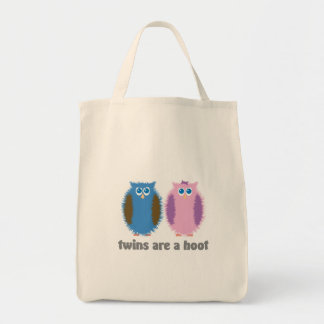 Twin Owls Blue Pink Tote Bag