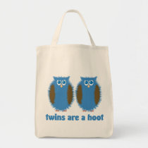 Twin Owls Blue Tote Bag