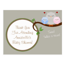 Twin Owls Boy & Girl Thank You Postcard