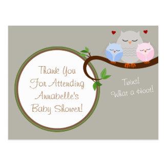 Twin Owls Boy & Girl Thank You Postcard