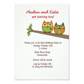 Twin Owls Invitation