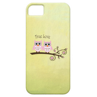 Twin Owls on Branch True Love pink stylish iPhone 5 Cases