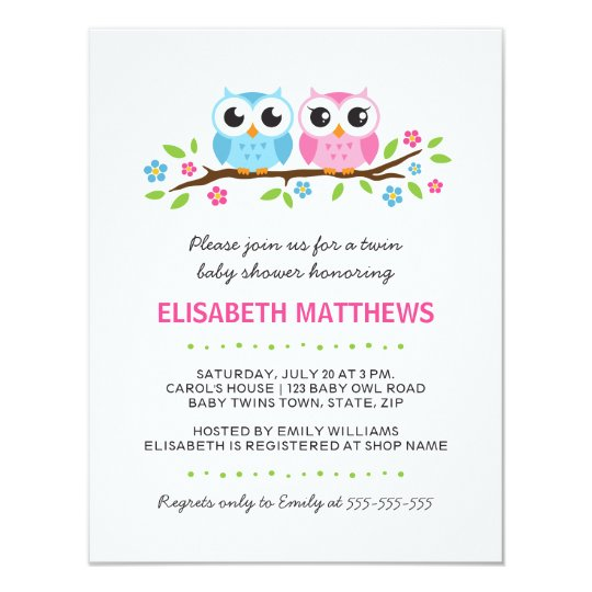Twin owls on floral branch boy girl baby shower invitation zazzle twin owls on floral branch boy girl baby shower invitation filmwisefo