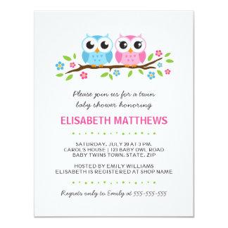 Twin owls on floral branch boy girl baby shower custom invitations