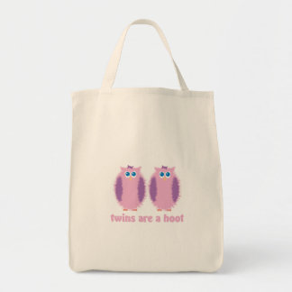Twin Owls Pink Tote Bag