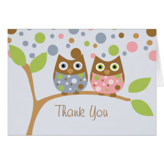 Twin Owls Thank You Note Card