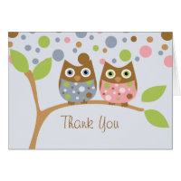 Twin Owls Thank You Note Greeting Card