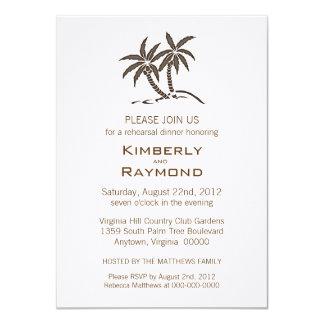 Twin Palm Trees Rehearsal Dinner Invitations
