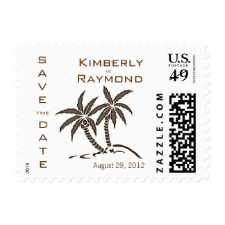 Twin Palm Trees Save the Date Announcement Postage