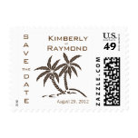 Twin Palm Trees Save the Date Announcement Postage Stamp