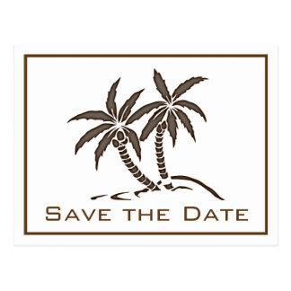 Twin Palm Trees Save the Date Postcard