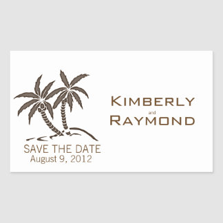 Twin Palm Trees Save the Date Stickers
