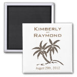 Twin Palm Trees Save the Date Wedding Magnet