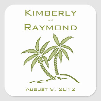 Twin Palm Trees Square Stickers
