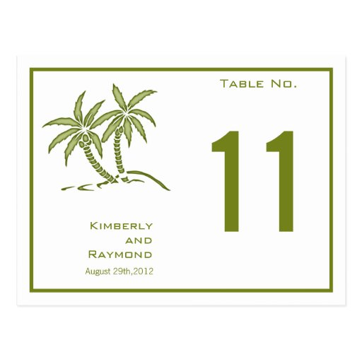 Twin Palm Trees Table Number Card Postcard