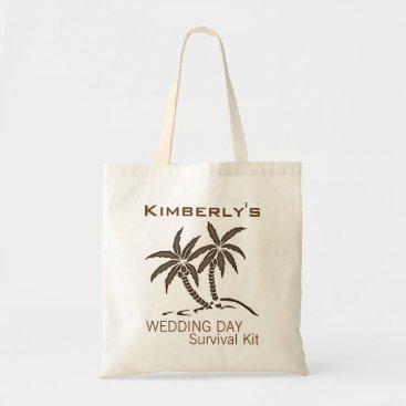 Beach Themed Twin Palm Trees Wedding Day Survival Kit Bag