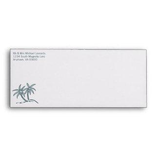 Twin Palm Trees Wedding Envelopes