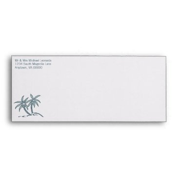 Beach Themed Twin Palm Trees Wedding Envelopes