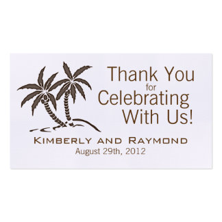 Twin Palm Trees Wedding Favor Tags Business Card Template