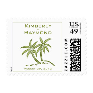 Twin Palm Trees Wedding Invitation Postage Stamps