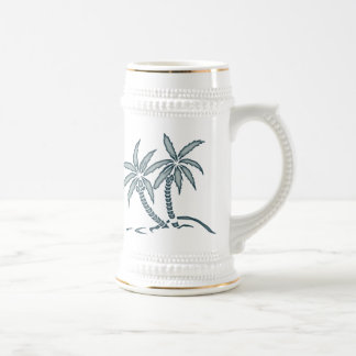 Twin Palm Trees Wedding Souvenir Stein Mugs