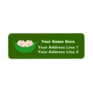 Twin Pea Pods (customizable) Label