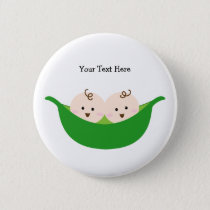 Twin Pea Pods (customizable) Pinback Button