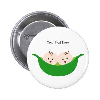 Twin Pea Pods (customizable) Pinback Button