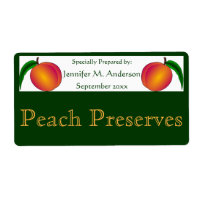 Twin Peaches Framed in Green Homemade Food Label