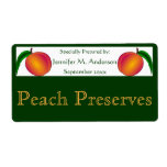 Twin Peaches Framed in Green Homemade Food Labels