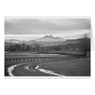Twin Peaks Mt Meeker and Longs Peak BW Country Card