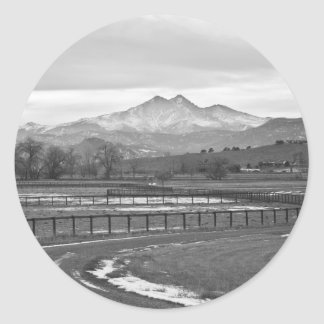 Twin Peaks Mt Meeker and Longs Peak BW Country Classic Round Sticker